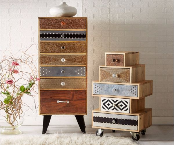 Indian Hub Sorio Tall 7 Drawer Chest