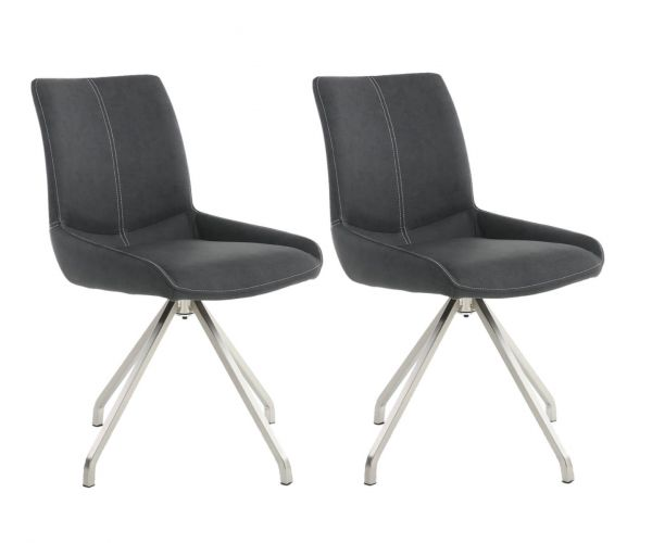 Shankar Spindle Grey Fabric Dining Chair in Pair