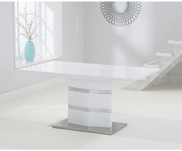 Mark Harris Springfield White High Gloss Dining Table Only