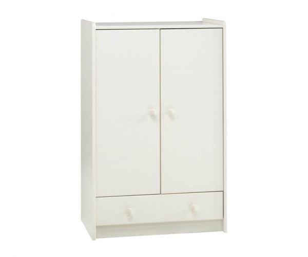 Steens Kids White 2 Door 1 Drawer Low Wardrobe