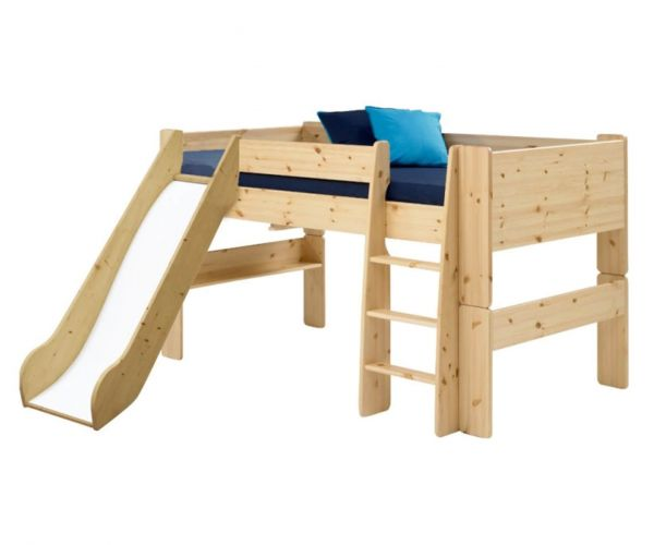 Steens Kids Solid Pine Mid Sleeper Bed with Slide