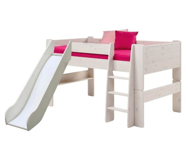 Steens Kids Whitewash Mid Sleeper Bed with Slide