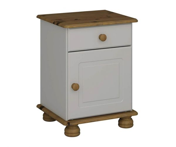 Steens Richmond Grey and Pine 1 Drawer 1 Door Bedside Cabinet