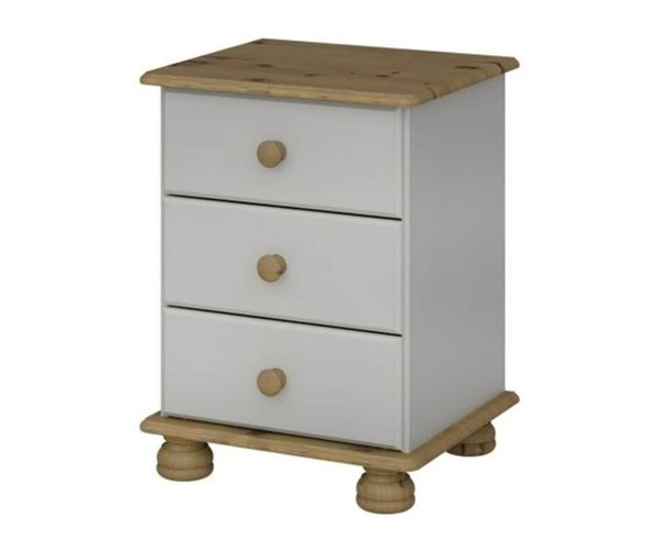 Steens Richmond Grey and Pine 3 Drawer Bedside Cabinet