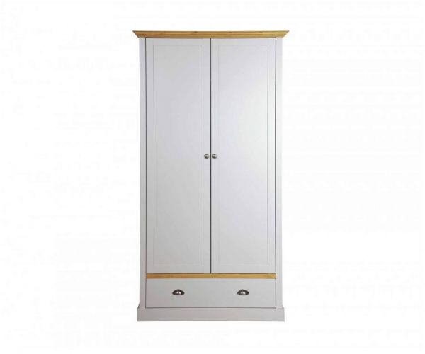Steens Sandringham Grey and Pine 2 Door 1 Drawer Wardrobe