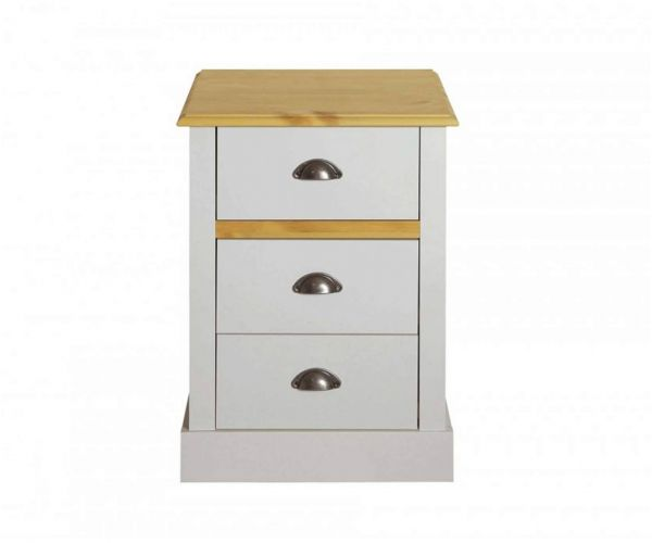 Steens Sandringham Grey and Pine 3 Drawer Bedside Table