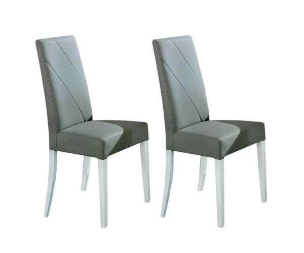 Ben Company Stella White and Grey Finish Dining Chair in Pair