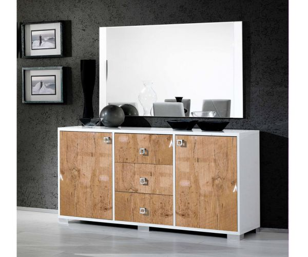 Ben Company Stella White and Oak Finish Italian Sideboard