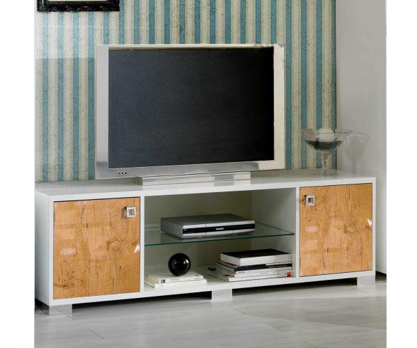 Ben Company Stella White and Oak Finish Italian Plasma TV Cabinet