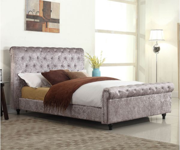 Sareer Stella Pewter Crushed Velvet Fabric Bed Frame