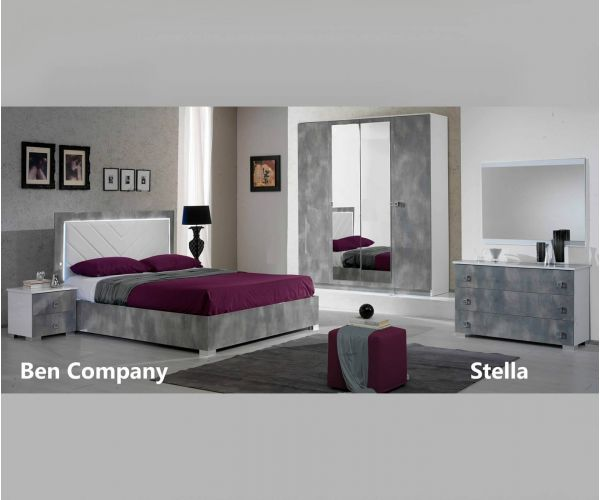 Ben Company Stella White and Grey Finish Italian Bed Group Set with 4 Door Wardrobe
