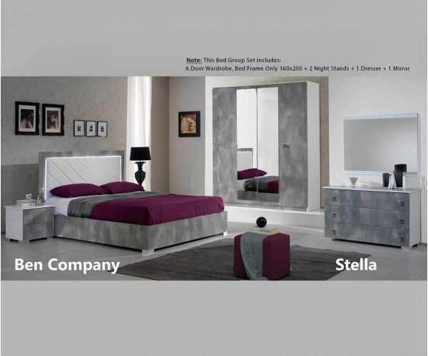 Ben Company Stella White and Grey Finish Bed Group Set with 6 Door Wardrobe