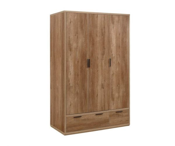 Birlea Furniture Stockwell Rustic Oak 3 Door 2 Drawer Wardrobe