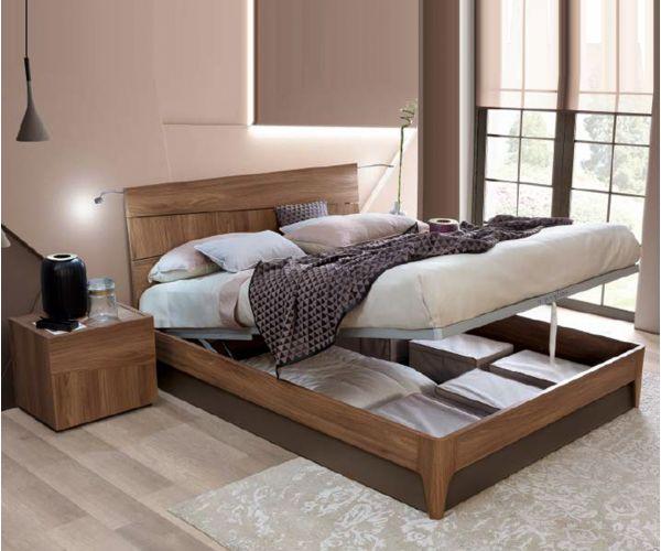 Camel Group Storm Walnut Finish Storage Bed Frame