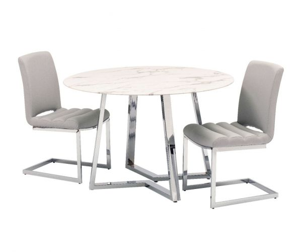 Derrys Furniture Storm Round Dining Table with 4 Grey Dining Chair