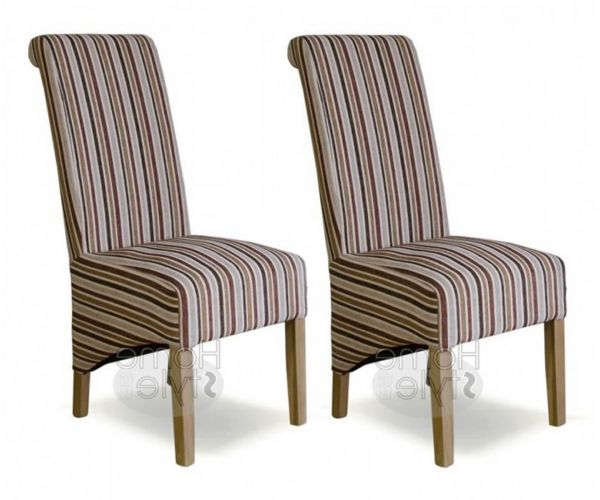 Homestyle GB Richmond Royale Striped Fabric Dining Chair in Pair