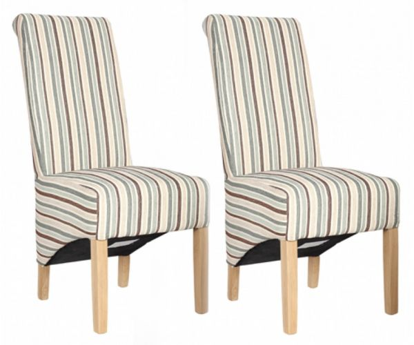 Homestyle GB Richmond Natural Striped Fabric Dining Chair in Pair