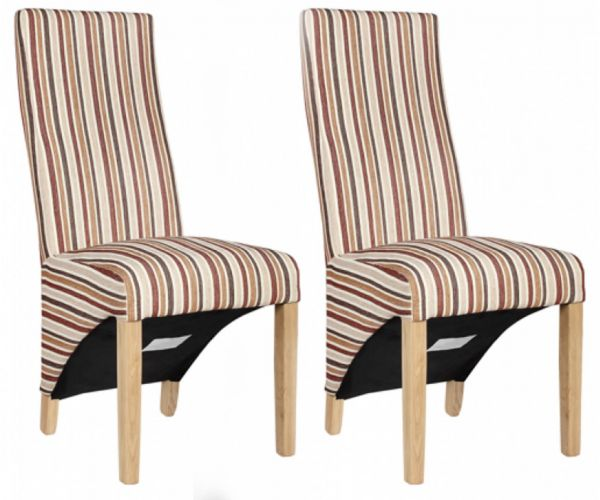 Homestyle GB Wave Royale Striped Fabric Dining Chair in Pair