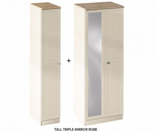 Welcome Furniture Vienna Tall Triple Wardrobe with Mirror