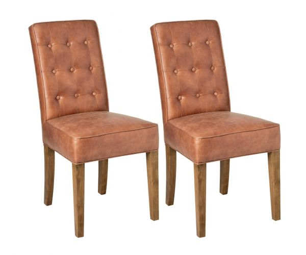 Tan Faux Leather Dining Chair in Pair
