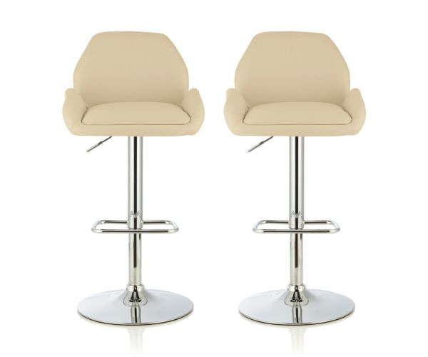 Serene Furnishings Tansy Cream Faux Leather Bar Stool in Pair
