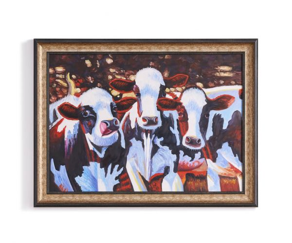 Derrys Furniture The Holstein Ladies Framed Cow Canvas Print