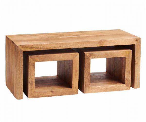 Indian Hub Toko Light Mango John Long Cubed Coffee Table Set