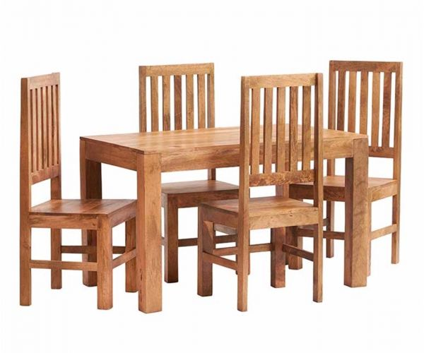Indian Hub Toko Light Mango Small Dining Table with 4 Wooden Chairs