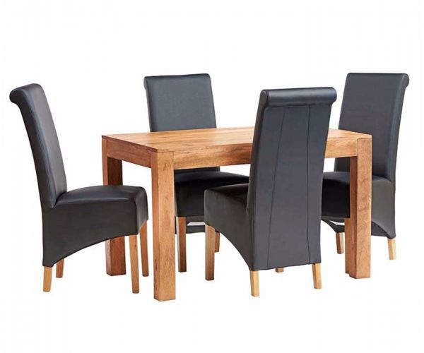 Indian Hub Toko Light Mango Small Dining Table with 4 Leather Chairs