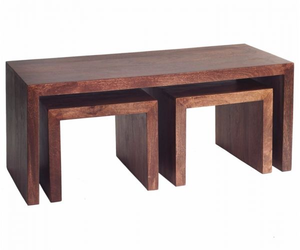 Indian Hub Toko Dark Mango John Long Cubed Coffee Table Set