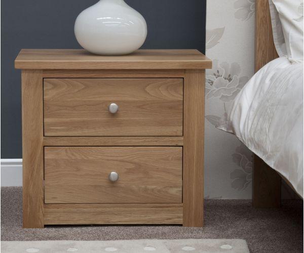 Homestyle GB Torino Oak 2 Drawer Wide Bedside Cabinet