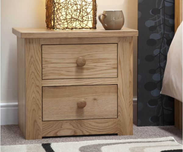 Homestyle GB Torino Oak 2 Drawer Narrow Bedside Cabinet