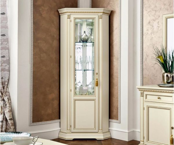 Camel Group Treviso White Ash Finish 1 Door Corner Display Cabinet