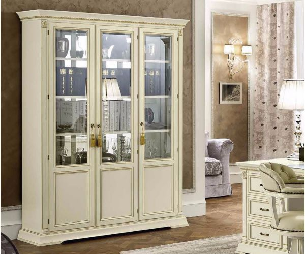 Camel Group Treviso White Ash Finish 3 Door Display Cabinet