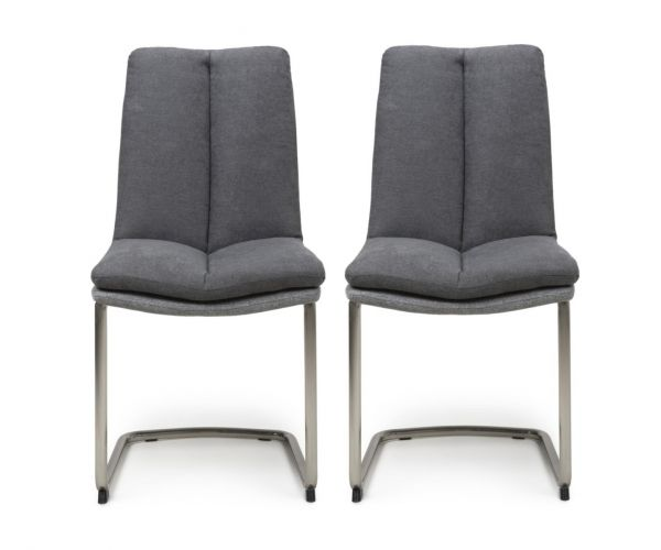 Shankar Triton Dark Grey Linen Effect Dining Chair in Pair