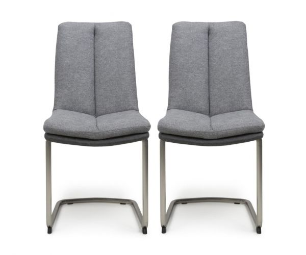 Shankar Triton Light Grey Linen Effect Dining Chair in Pair