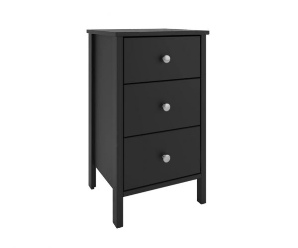 Steens Tromso Black 3 Drawer Bedside Cabinet