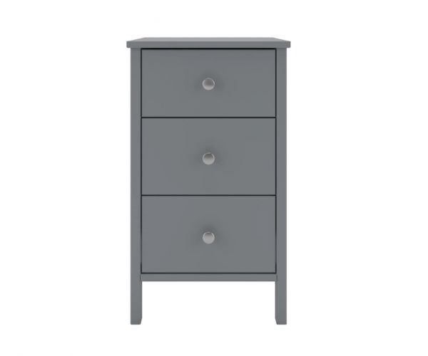 Steens Tromso Grey 3 Drawer Bedside Cabinet