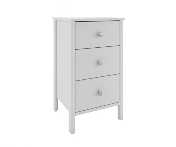 Steens Tromso White 3 Drawer Bedside Cabinet