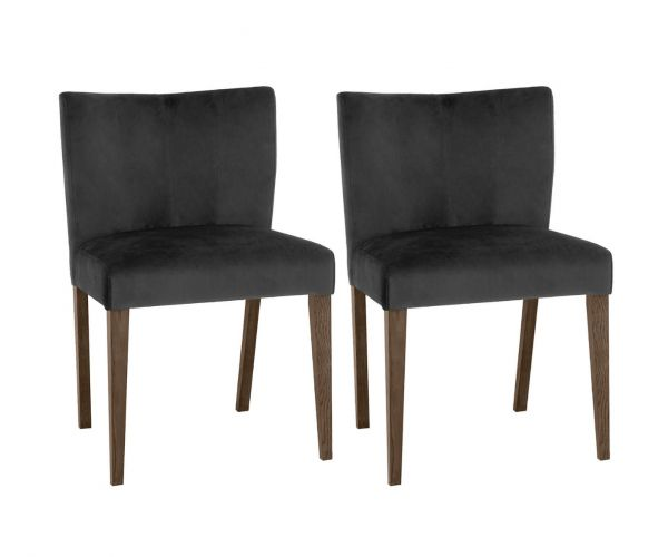 Bentley Designs Turin Dark Oak Low Back Gun Metal Velvet Fabric Upholstered Chairs in Pair