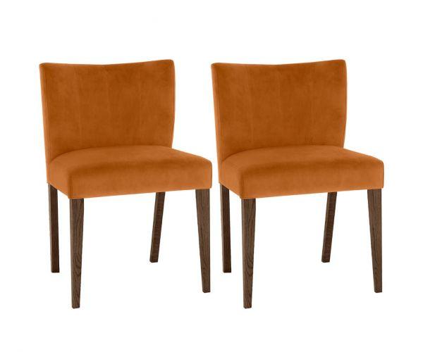 Bentley Designs Turin Dark Oak Low Back Harvest Pumpkin Velvet Fabric Upholstered Chairs in Pair