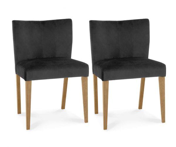 Bentley Designs Turin Light Oak Low Back Gun Metal Velvet Fabric Upholstered Chairs in Pair