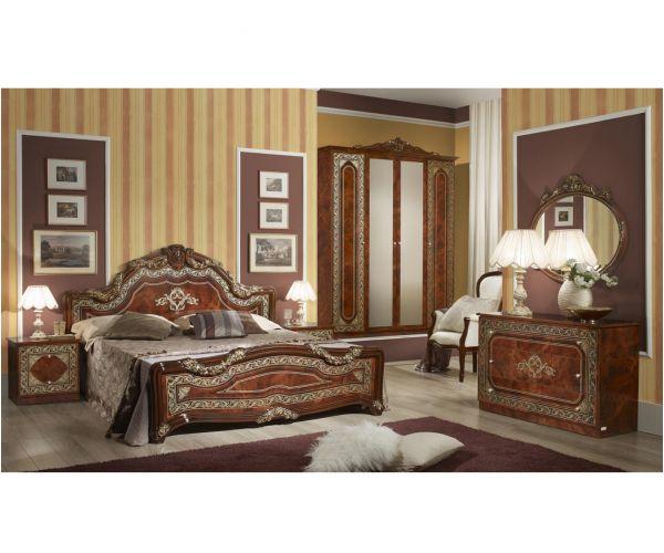 Tuttomobili Elena Walnut Finish Bedroom Set with 6 Door Wardrobe