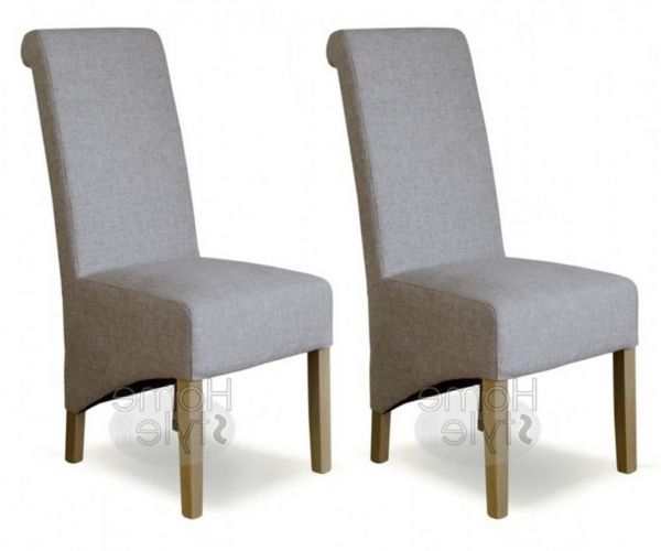 Homestyle GB Richmond Beige Tweed Fabric Dining Chair in Pair