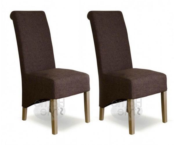 Homestyle GB Richmond Dark Tweed Fabric Dining Chair in Pair