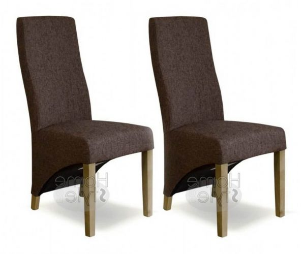 Homestyle GB Wave Dark Tweed Fabric Dining Chair in Pair