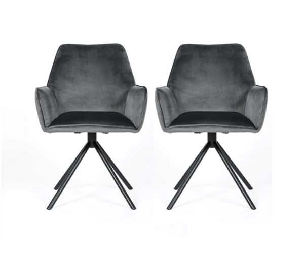Furniture Line Uno Grey Dining Chair in Pair