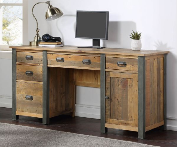 Baumhaus Urban Elegance Reclaimed Twin Pedestal Home Office Desk