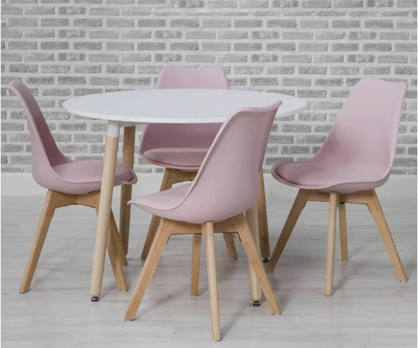Furniture Line Urban White Round Dining Set with 4 Pink Chairs - 75cm