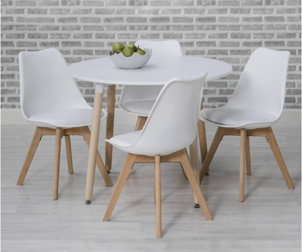 Furniture Line Urban White Round Dining Set with 4 White Chairs - 75cm